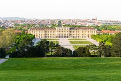 Vienna Skyline Schänbrunn. Famous Schonbrunn Palace in Vienna, Austria. The Baroque palace is one of the most important architectural, cultural, and historical Stock Photo