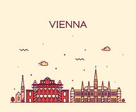 Vienna skyline trendy vector illustration linear Royalty Free Stock Photos