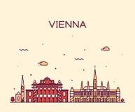 Vienna skyline trendy vector illustration linear Royalty Free Stock Photos