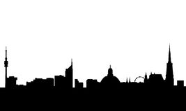 Vienna skyline vector. Vectored illustration of the skyline of vienna with most famous landmarks as saint stefan and danube tower and the millennium tower Stock Image