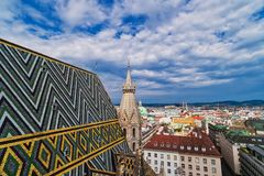 Vienna from St. Stephens Cathedral. Aerial view of the city from tower of the church Stock Photo