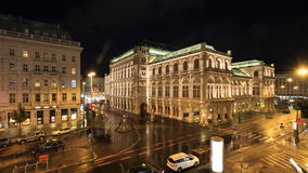 Vienna State Opera House and Sacher Hotel by Night. Photo taken from across the square from the Albertina museum terrace Stock Photos