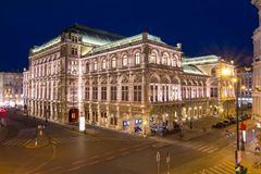 Vienna State Opera at night, Austria stock images