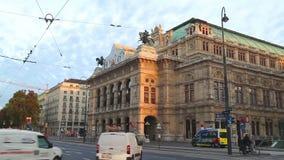 Vienna State Opera at night stock video