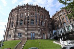 A castle-similar building. It is in Vienna, Station `Gasometer`, `U3` subway-station, in ward three. Outside, trappings stock photography