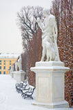 Vienna - Statue of Paris with the doog by Veit Königer in gardens of Schonbrunn palace in winter. Stock Photography