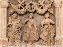 Vienna - Stone relief from back side of Church of the Teutonic Order or Deutschordenkirche Stock Images