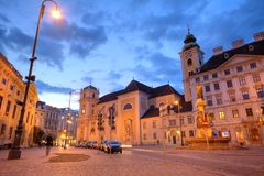 Vienna street at night Royalty Free Stock Images