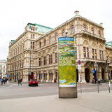 Vienna street view and advertisement of Albertina Royalty Free Stock Photo