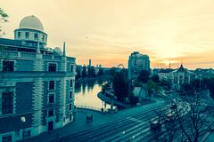Vienna city view at sunrise. Vienna street view with Danube canal. April 2018 Stock Image