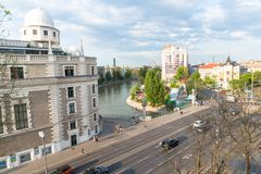 Vienna city view. Vienna street view with Danube canal. April 2018 Stock Photography