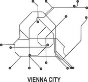 Vienna City map. Vienna subway map available in vector file format Royalty Free Stock Photo