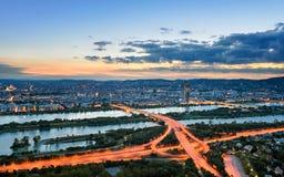 Vienna at sunset, Austria. Aerial view of Vienna during sunset, Austria royalty free stock photos