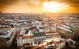 Vienna sunset city skyline as seen from the top of St. Stephan d Stock Photo