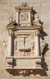 Vienna - Tomb stone with the crucifixion of Jesus relief from west facade of monastery church in Klosterneuburg Stock Images
