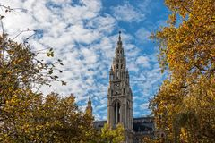 Vienna Town Hall In Autumn Royalty Free Stock Photos