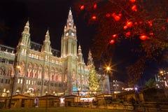 Vienna - town-hall and christmas decoration. Vienna - tower of town-hall and christmas decoration Stock Image