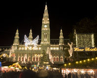Vienna - town-hall by christmas market. Vienna - night town-hall by christmas market Royalty Free Stock Image