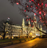 Vienna Town Hall and Christmas Market at night Royalty Free Stock Photography