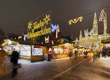 Vienna Town Hall and Christmas Market at night Stock Image