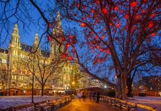 Vienna town hall at christmastime Royalty Free Stock Photo