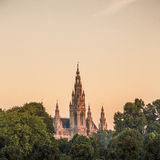 Vienna Town Hall. Front view during sunset, in Austria Royalty Free Stock Images