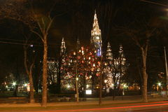 Vienna town hall in the night, Christmas time stock photography