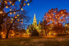 Vienna town hall and park Stock Photo