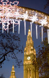 Vienna - townhall by christmas market in the night. And the christmas decoraton Stock Images