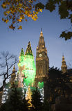 Vienna - townhall by christmas market in the night Stock Photos