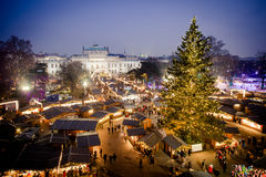 Vienna traditional Christmas Market 2016, aerial view. At blue hour sunset. Wien, Austria, Europe Royalty Free Stock Photo