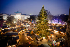 Vienna traditional Christmas Market 2016, aerial view. Vienna traditional Christmas Market 2016 aerial view at blue hour sunset. Wien Austria Europe Stock Image