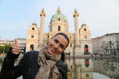 Vienna traveler tourist woman Royalty Free Stock Images