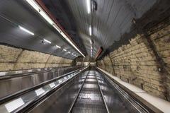 Vienna underground escalators. Underground escalators in metro tunnel in Vienna, Austria Royalty Free Stock Photo