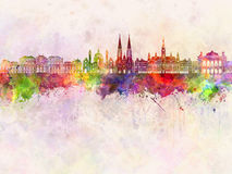 Vienna V2 skyline in watercolor Stock Images