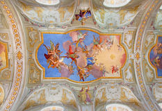 Vienna - Virgin Mary in heaven. Central fresco on the ceiling of baroque st. Annes church by Daniel Gran Royalty Free Stock Images