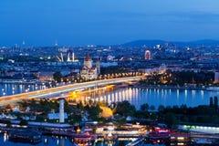 Vienna, vista aerea alla notte fotografia stock