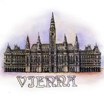 The Vienna watercolor hand drawing, arhitectural buillding isolated Royalty Free Stock Photos