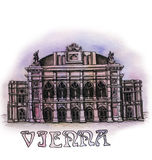 The Vienna  watercolor hand drawing, famouse arhitectural buillding isolated Stock Photography