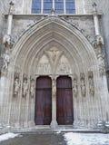 Vienna - West portal of Minoriten gothic church in winter Stock Photos