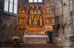 Vienna - The Wiener Neustädter gothic wings altar from year 1447 in the side nave of St. Stephens cathedral Royalty Free Stock Images