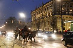 Vienna winter horses carriage coach holiday. Beautiful tourism tour unusual crew Stock Image