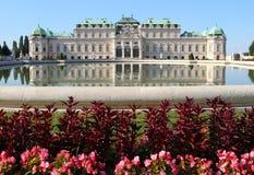 Vienne, Autriche - 28 août 2014 : réflexion du Belve supérieur photos libres de droits