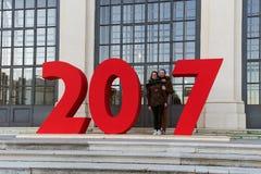 VIENNE, AUTRICHE - 29 DÉCEMBRE 2016 : Les couples ont photographié près du Ne Photographie stock libre de droits