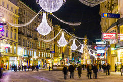 Rue célèbre de Graben à Vienne la nuit Images libres de droits