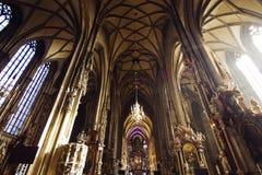 Vienne, Autriche le 24 octobre 2015 : Intérieur de cathédrale de Stephens Photo stock