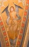 Vienne - fresque d'ange avec l'instrument de musique du vestibule de l'église de monastère à Klosterneuburg photos libres de droits