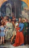 Vienne - peinture de Jésus pour la scène de Pilatus. du cent 19. dans l'église de Michaelerkirche ou de St Michael Images libres de droits
