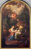 Vienne - peinture de peu de Vigin un St, un Joachim et une Ann. du cent 19. dans l'église d'Augustinerkirche ou d'Augustinus Images stock