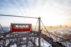 Vienne Riesenrad en hiver avec la neige Image stock